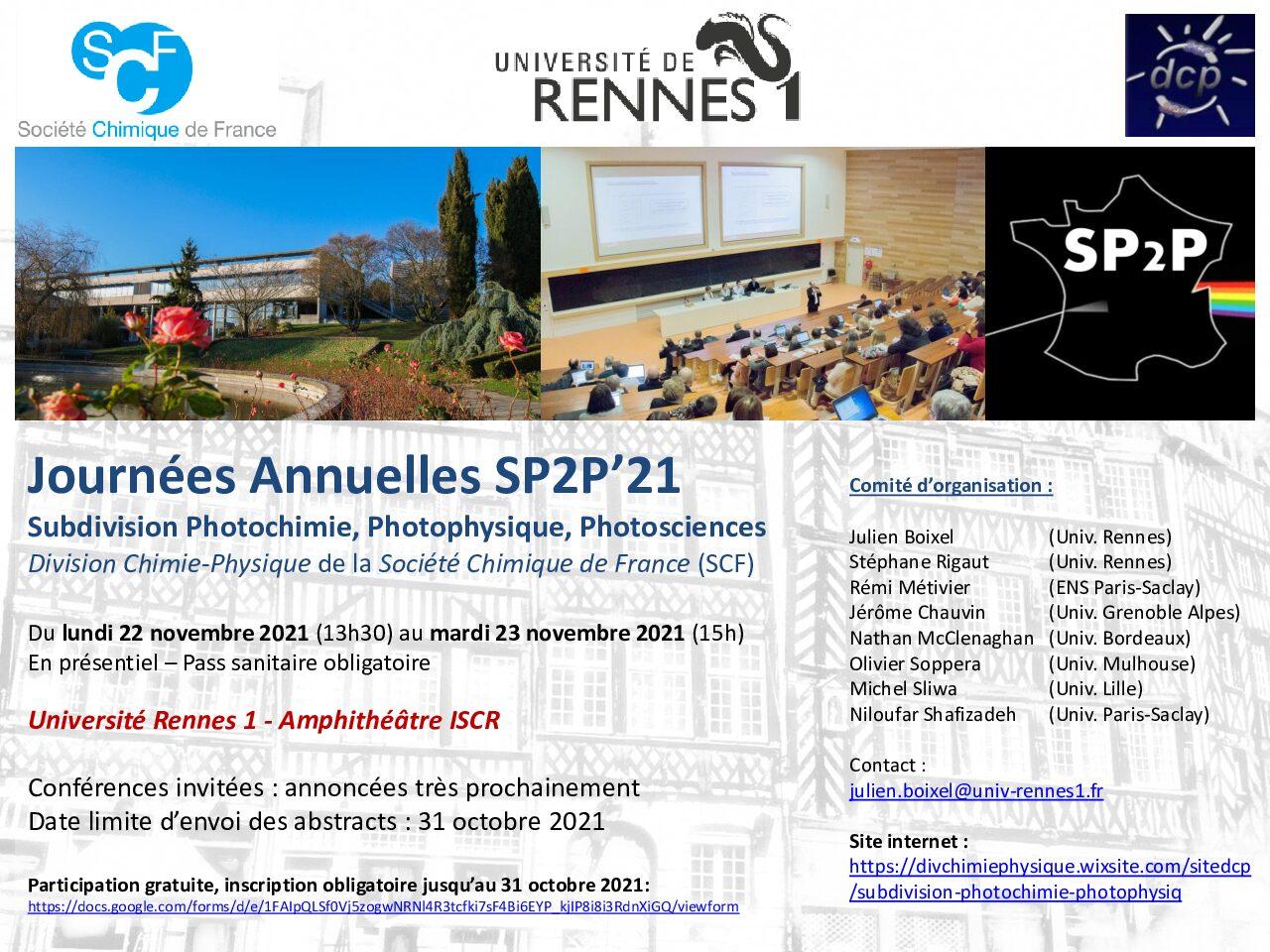 Journées Annuelles de la société de photochimie, photophysique et des photosciences SP2P'21